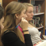 Haley Bergman, Abbie Clark, and Rebecca Harding, seniors, attend the weekly girls Bible study.