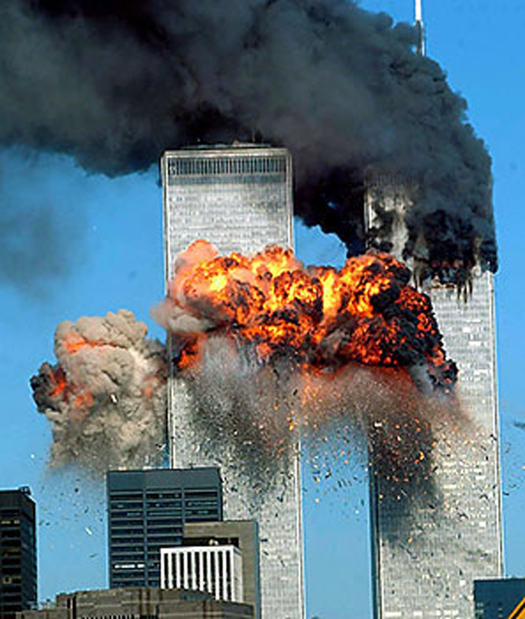 An image of the twin towers taken during the attack.