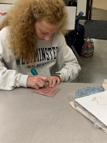 Wendel working on her next project in Sarra's new printmaking class.