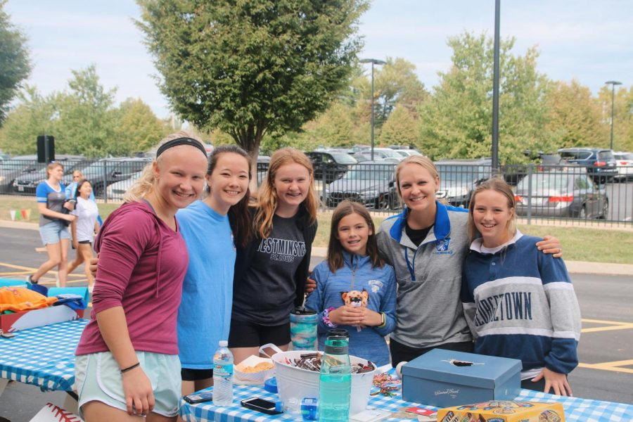 The girls' lacrosse team ran a booth where people could test their lacrosse skills.