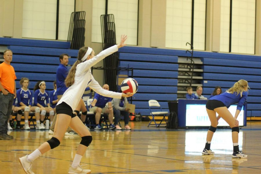 Avery+Stanfill%2C+freshman%2C+prepares+to+serve+the+ball+in+one+of+the+first+varsity+games+this+season.