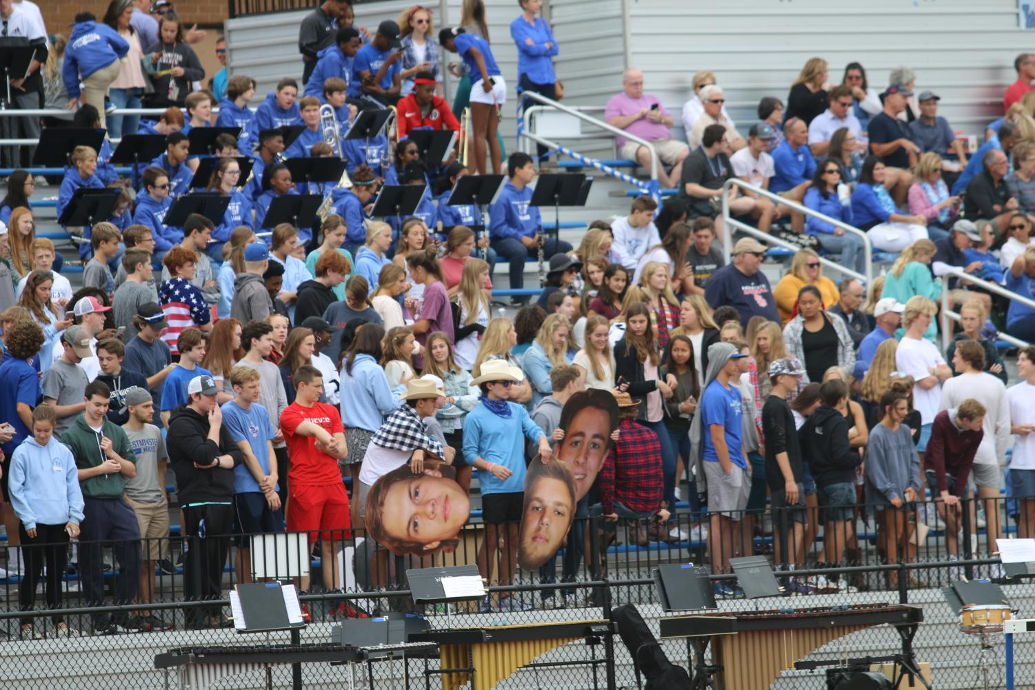 The Blue Crew decked out in western gear for the Wildcats' first ever Homecoming game.