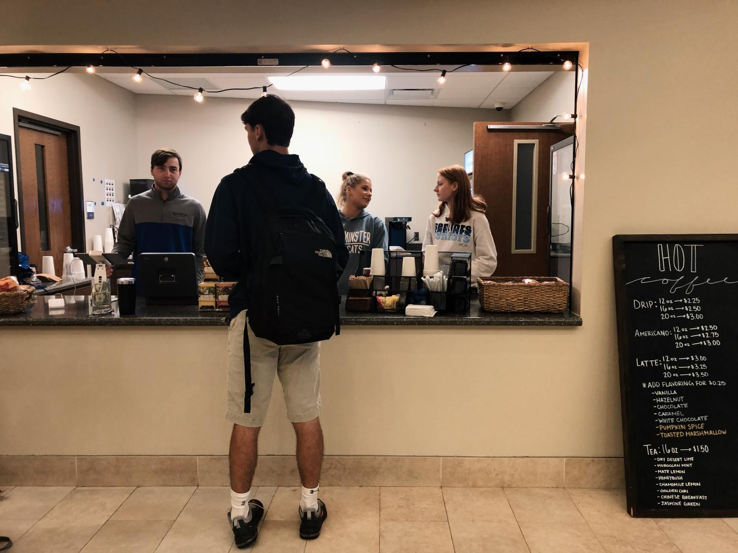 Westminster's coffee shop, Pawprint Coffee, allows students to purchase coffee and smoothies.