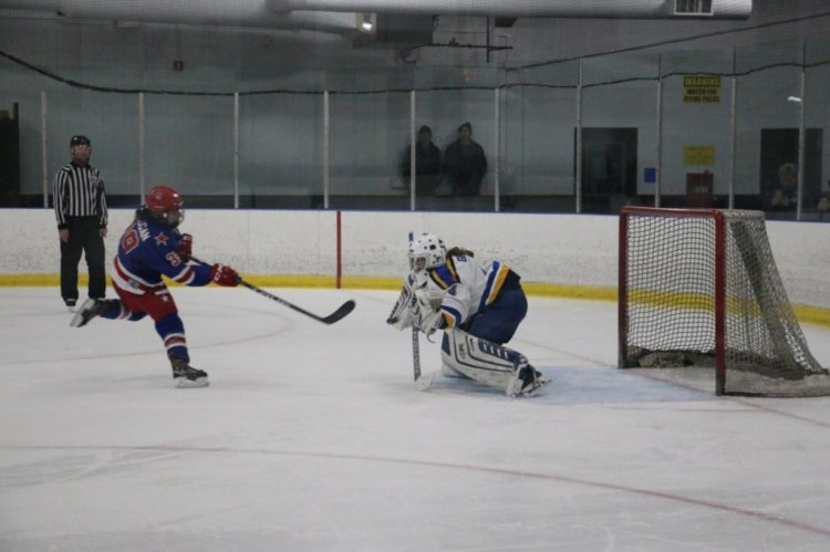 Emily Griege, who plays on an all-girls AAA Blues select team, is the only female hockey player at Westminster.