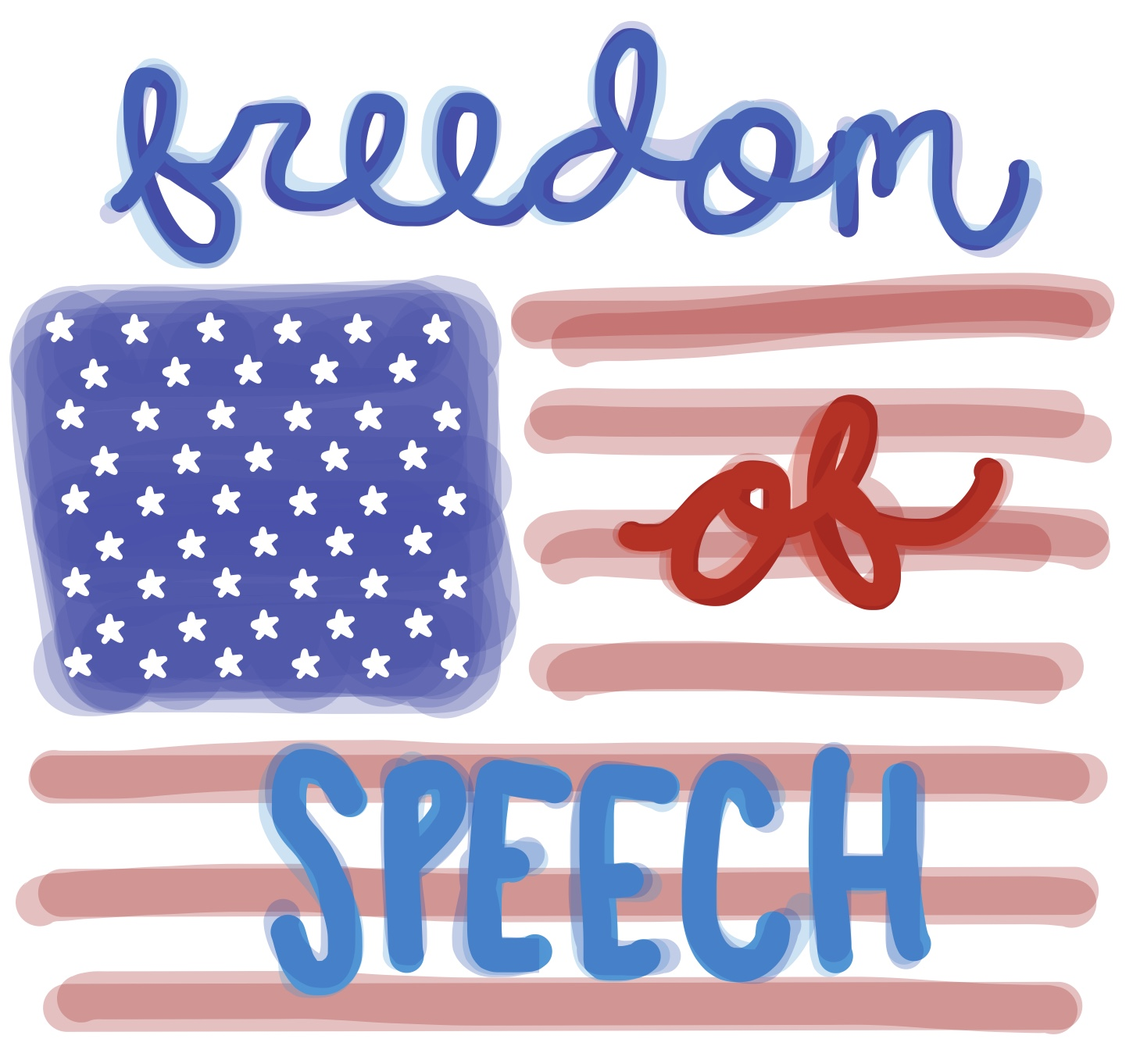The debate on the enumerated right to freedom of speech in the First Amendment.