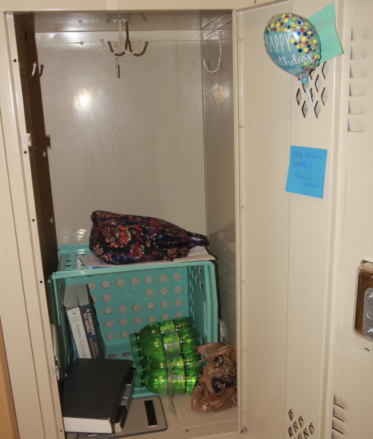 A high schooler's locker is often messy compared to that of a middle schooler's at WCA.