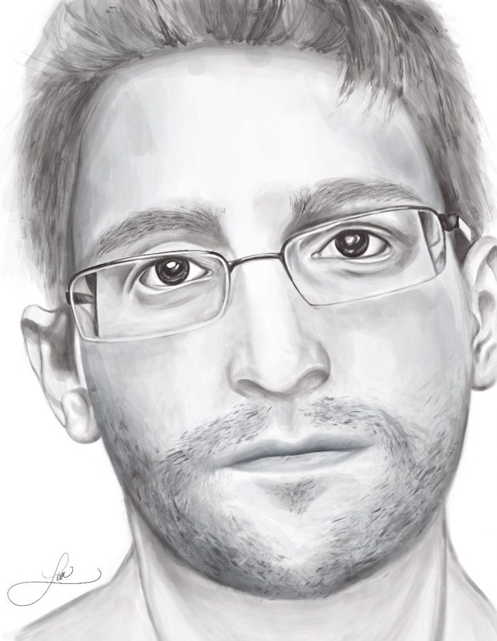 Sketched+by+Lea+Despotis.+Edward+Snowden+from+his+new+book+Permanent+Record.+