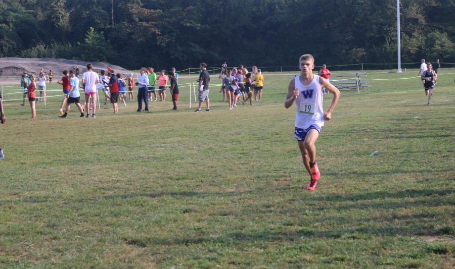 Thomas Gorline finishes a race at the Spanish Lakes course in North St. Louis.