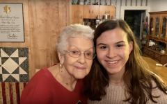 Hannah poses for a picture with her great grandmother.