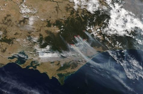 This is a space view of Victoria, Australia showing the moving bushfires as they spread over the continent. Photo by: NASA