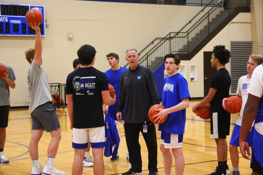 Coach+Ribble+instructs+the+team+before+shoot+around.