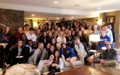The senior class gathered at Kyleigh Ford's house for breakfast on Senior Skip Day.