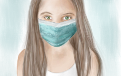 A girl is depicted wearing a mask to protect her from the Coronavirus.