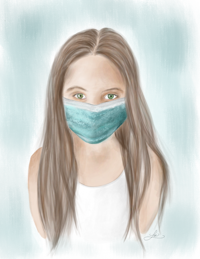 A+girl+is+depicted+wearing+a+mask+to+protect+her+from+the+Coronavirus.+