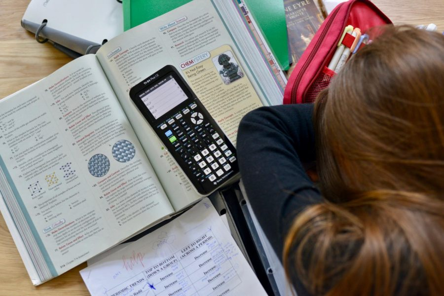 girl sleeping doing homework