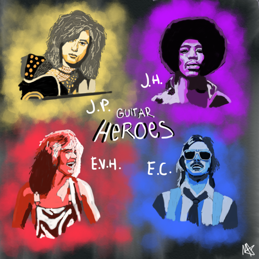 Four of the most famous guitarists of all time: Jimmy Page, Jimi Hendrix, Edward Van Halen, and Eric Clapton.
