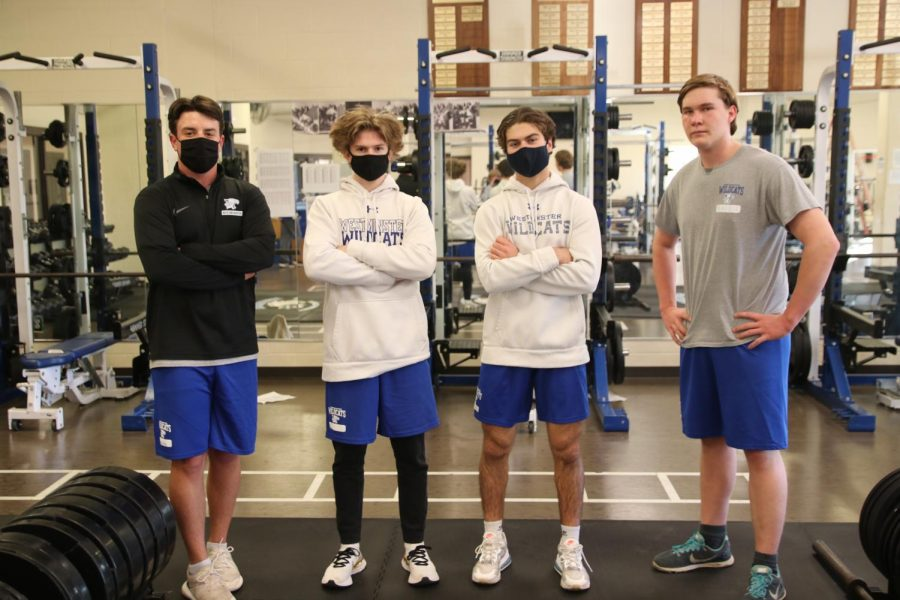 Jack Wooldridge, Caleb Bross, Harry Ottsen, juniors, and Matthew Burgess, senior, attend strength and conditioning to prepare for the season.