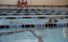 Allie Lytle, senior, swims the 500 for time trials at practice.