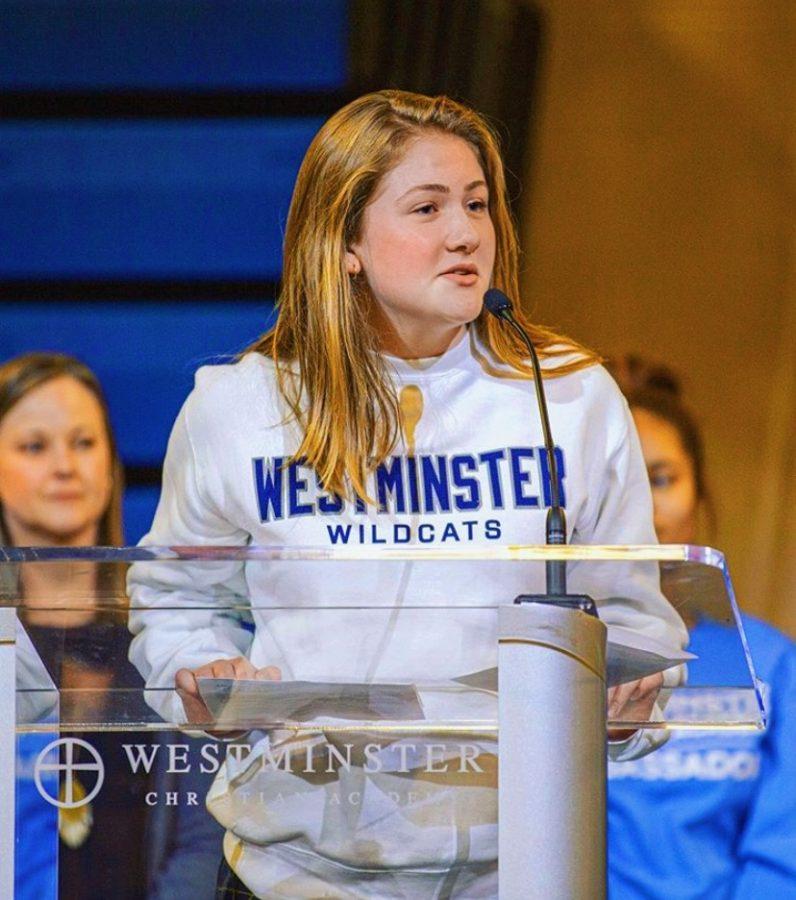 Kaitlyn Mann, the sophomore class president speaking in chapel of 2019-2020 school year.