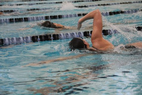 Sara Schloss swims at practice in preparation for conference meet.