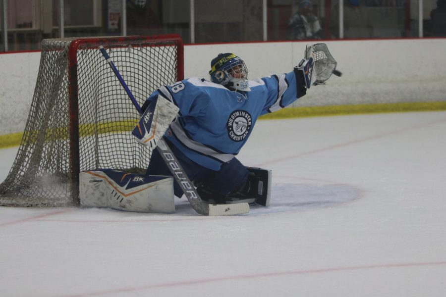 Emily Griege reaches for a save.