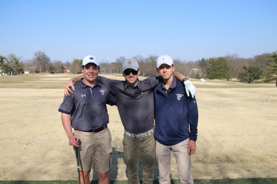 Wooldridge, Willyard, and Lawrence on the range before practice.
