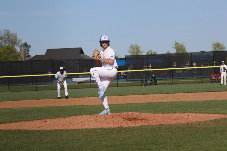Leingang pitches to John Burroughs in the top of the second inning.