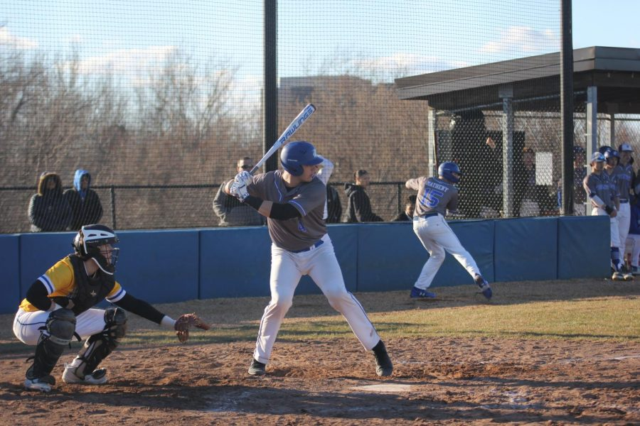 Jimmy Obertop squares up to hit the ball.