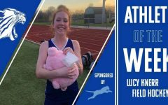 """Lucy Knerr, sophomore, wins the """"pig of the game"""" for lacrosse for scoring the first goal of the season last spring."""